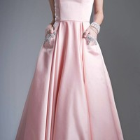 Strapless Long Prom Dress with Embellished Pockets Peach Ball Gown