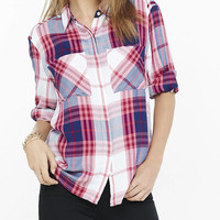 Blue And Pink Oversized Plaid Shirt from EXPRESS