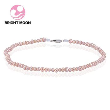 6-7mm Pink Freshwater Pearl Necklace & choker 40-120cm Custom size Baroque Pearl Necklace for Women High Brightness Pearl Beaded
