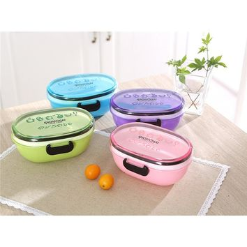 2-Layer Plastic Student Lunch Box 500ml Bento Boxes Cartoon Healthy Food Picnic Container Dinnerware Lunchbox Cutlery Sets