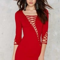 Margaux Lace-Up Bodycon Dress - Red