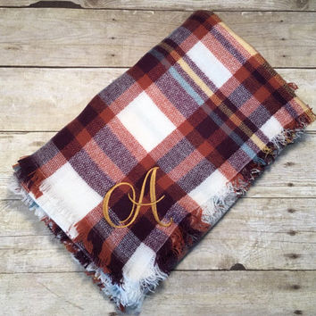 Blanket scarf, plaid scarf, oversized scarf, fall accessories, personalized, christmas gift idea, birthday gift idea, gifts under 25