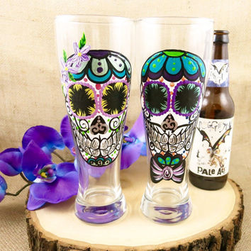 Hand Painted Sugar Skull Couple 23oz Beer Glasses