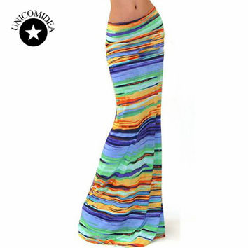 2017 New and Hot Autumn New Maxi Skirts Women Long Striped Skirt Female Long Bohemian Skirts Casual High Waist Clothing