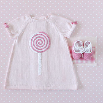 Knitted baby dress pink with a crochet lollipop. 100% cotton. READY TO SHIP size 1-3 Months.