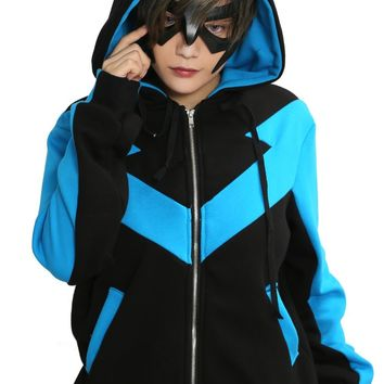 Batman Nightwing Hoodie DC Comics Cosplay Costume  Cotton Blue Black Suit Halloween Xcoser