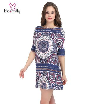 Women Summer Dresses Casual 2017 Loose Short Club Sexy Printed Dresses Robe Vintage Dress Retro Plus Size Boho Clothing