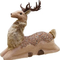 "13.5"" Champagne Gold Sitting Deer Christmas Decoration"