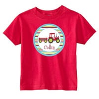 Tractor Boy on Personalized Red T-Shirt