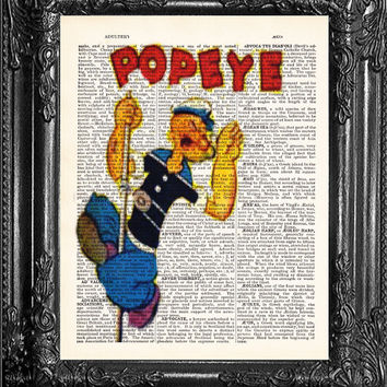 Popeye The Sailor Man Art Poster Cartoon Comic Book Art-Dictionary Print-Gift Print On Dictionary Book Page-Home Dorm Wall Decor Poster