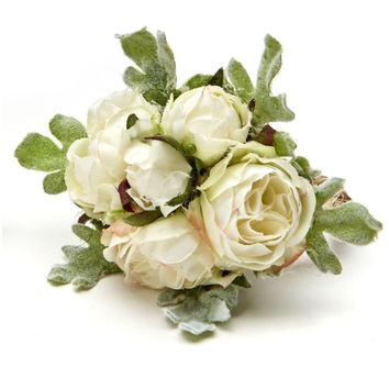 Rose Bouquet Napkin ring - Set of 4 White