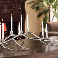 SPI Home Branch Centerpiece Candelabra Silver Finish Candle Holder Tree Limb