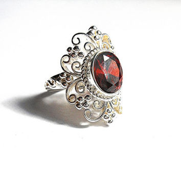 925 Sterling Silver 3Kt Natural Garnet Victorian Style Ring Sterling Silver Garnet Ring Garnet Jewellery January Birthstone Ring Red Stone