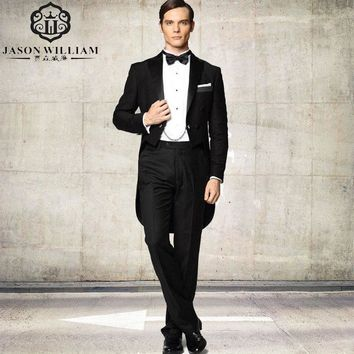 (Jacket+Pants+Tie) Black Tailcoat Groom Tuxedos
