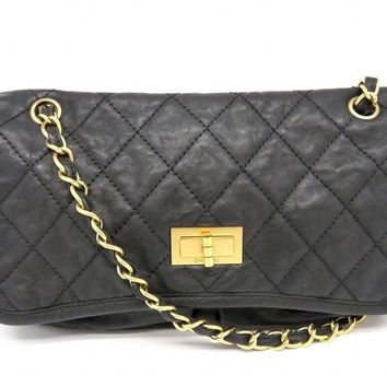Chanel 2.55 Chain Shoulder Flap Bag Calfskin Gold Metal Black 9474