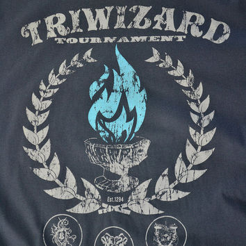 HARRY POTTER TRIWIZARD Tournament Unisex Shirt Ringspun Cotton Dark Grey -- Blue Flames of the Goblet of Fire Spit out Harry Potter's Name