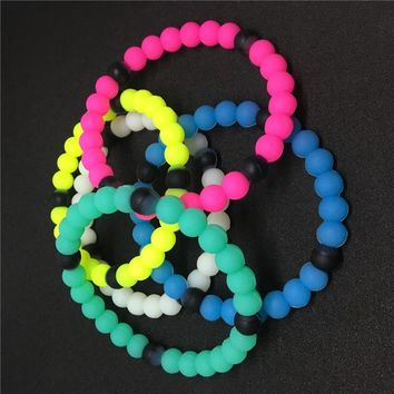 6 Colors Silicone Lokai Bracelets 100pcs Mud and Water Black and White beads Silicone Bracelet Gift Transparent  night glowing
