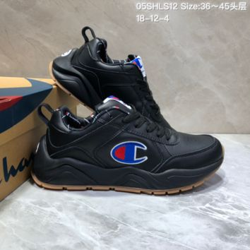 DCCK C026 Champion x Casbia Awol Atlanta Leather Sneaker Ratro Casual Running Shoes Black