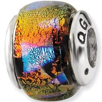 Reflection Beads Silver Orange Points Dichroic Glass Bead