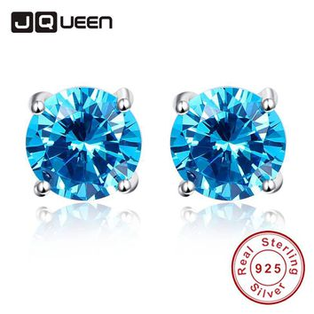 Wedding Fine Jewelry Earrings Silver 925 Stamped Heart of Ocean Mystic Topaz Light Blue Stud Earrings Sterling Silver Women Gift