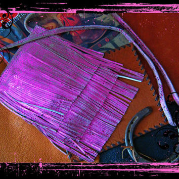 Cross-Body Pink Metallic and Sand Color Leather Fringed Prairie Sling