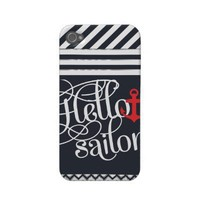 Hello Sailor! Retro Vintage Girly Nautical Iphone 4 Case-mate Case from Zazzle.com