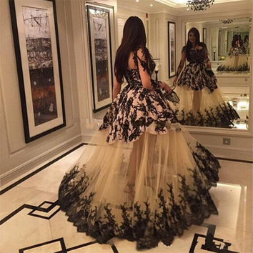 Long Sleeve 2017 New Sexy Black Lace Champagne Tulle Ball Gown Prom Dresses Long Evening Party Dress vestido de festa longo