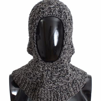 Men's Gray Wool Cashmere Crochet Hood