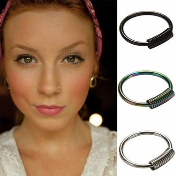 ac DCCKO2Q Real Pierced Septum Ring Nose Ear Catilage Tragus Helix Clicker Body Jewelry Spring Wrap Captive Piercing Ring