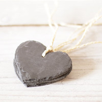 Four chalkboard labels on a string, Slate gift tags, Chalkboard hearts, Spring wedding