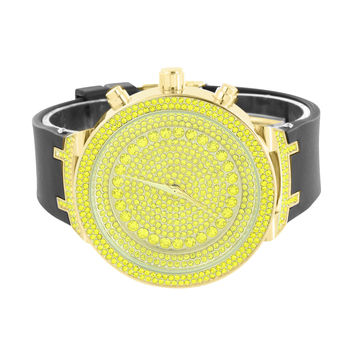 Canary Lab Diamonds Watch Fully Iced Out Dial Gold Finish