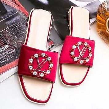 LV Louis Vuitton Trending Women Casual Stylish Crystal Rhinestone Sandal Slipper Shoes Red I-ALS-XZ