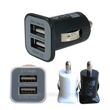 2-Port Practical Mini Universal Dual USB Car Charger Adapter Bullet for iPad iPhone iPod Blackberry Mobile Phones