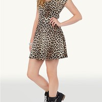 Cheetah Zipper Back Scuba Skater Dress