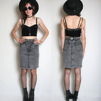 80s Acid Wash High Waisted Denim Skirt - Size 7 - High Waisted Jean Skirt - Grey Acid Wash - Grunge Skirt - Rocker