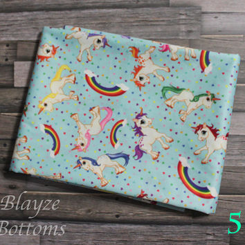 PLEASE READ to ORDER! Unicorn Rainbow Blue Background One Size Pocket Diaper or Diaper Cover