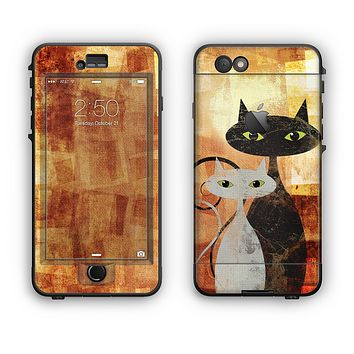 The Orange Grungy Textured Cat Apple iPhone 6 Plus LifeProof Nuud Case Skin Set