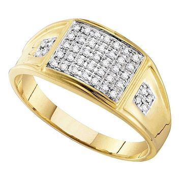 10kt Yellow Gold Men's Round Prong-set Diamond Square Cluster Ring 1/4 Cttw - FREE Shipping (US/CAN)