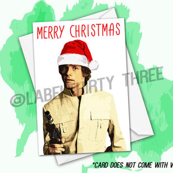 A Very Merry Skywalker Christmas Greeting Card- Luke Skywalker Classic Star Wars Character Inspired Xmas Card