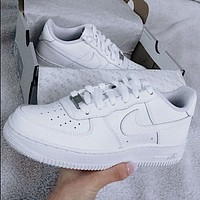 Nike Air Force 1 Hot Sale Couple Pure White Sneakers