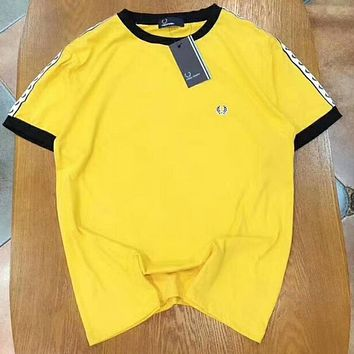 FRED PERRY Popular Women Men Loose Grain Logo Short Sleeve T-Shirt Pullover Top Yellow I-YF-MLBKS