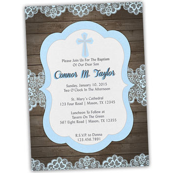 Wood and Lace Baby Blue Baptism Invitation for Boy - Baptism Invitates for Boys - Christening - Country - Rustic - Vintage Lace - Spanish