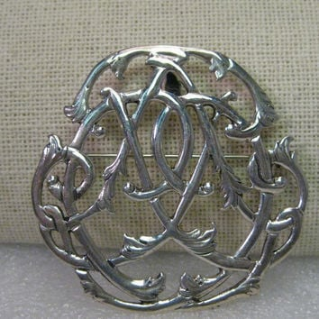 Vintage Sterling Silver Intertwined Branch Brooch/Pendant Combo - Celtic Appeal, Signed H&H