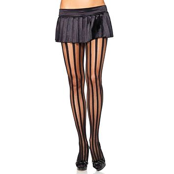 Ups And Downs Black Sheer Opaque Vertical Stripe Pattern Tights Stockings Hosiery