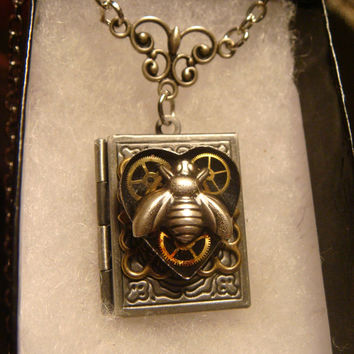 Steampunk Neo Victorian Clockwork Gears and Bee Upcycled Heart Book LOCKET Necklace- Makes a great VALENTINES DAY Gift (1600)