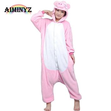 2017 Brand Clothing Lovers Pig Unisex Adults Flannel Hooded Onesuits Pajamas Cosplay Cartoon Animal Sleepwear For Women Men