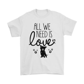 KUYOU All We Need Is Love Pitbull Dog Lover Shirts