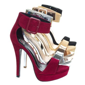 Zelena High Heel Stiletto Platform Dress Sandal w Thick Over Sized Ankle Strap