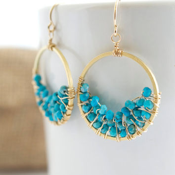 Turquoise Dangle Earrings, Turquoise Hoop Earrings, Gold Earrings, Turquoise Drop Earrings