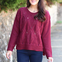 Chunky Knit Sweater {Burgundy}